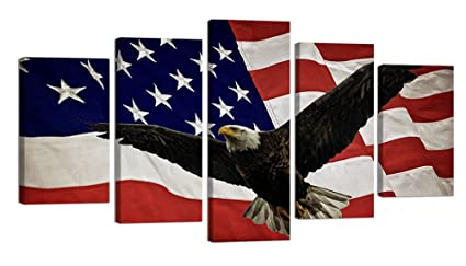 Ardemy Modern American Flag Eagle Canvas Wall Art Large Size 5 Panels, USA Patriotic Picture