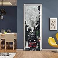 Deurstickers trein 3D muurschildering, kantoorkunst, geschikt voor binnen, slaapkamer, woonkamer, badkamer en…