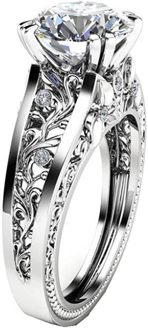 Amazon Com Lethez Crystal Wedding Ring For Women Vintage Diamond