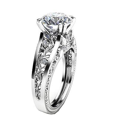 Amazon Com Lethez Crystal Wedding Ring For Women Vintage Diamond