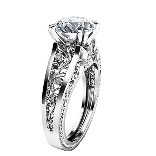 3b2880f5500a9 Lethez Crystal Wedding Ring for Women, Vintage Diamond Rhinestone Floral  Ring Engagement Band Jewelry