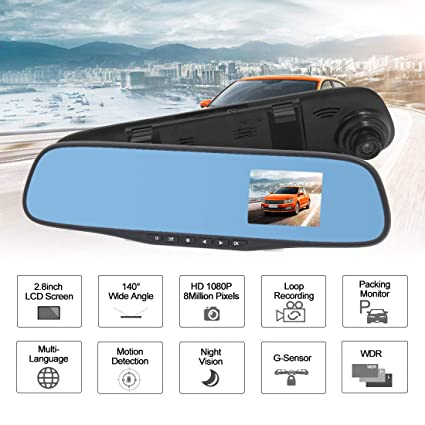 "Car HD 2.8/"" 1080P Rearview Mirror Dash Camera DVR Cam Video Recorder G-sensor"