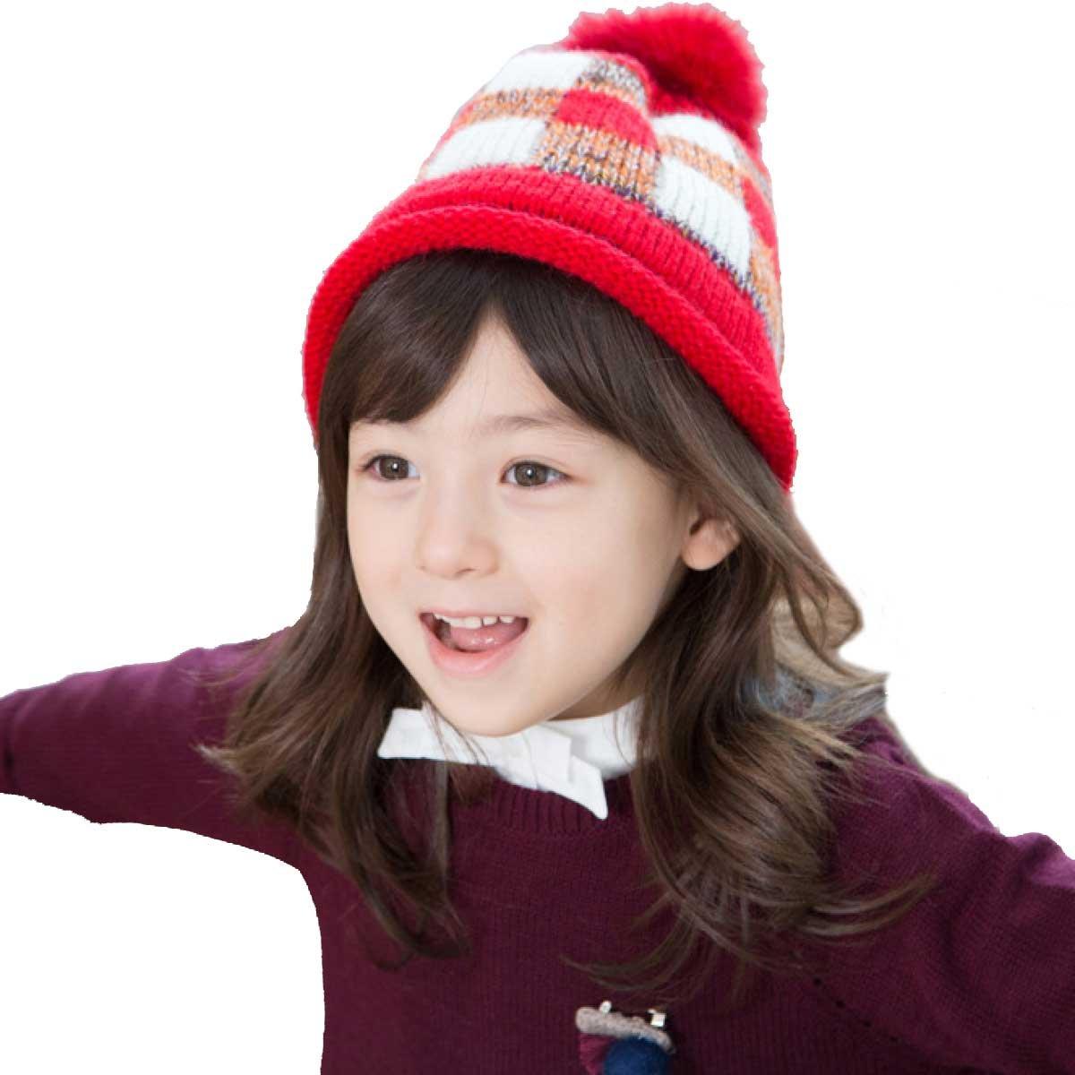 TRIWONDER Winter Hats for Kids Beanie Knit Cap Pom Pom Hat Wool Ski Cap OS2403PI