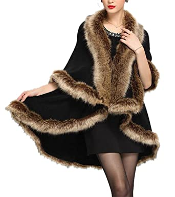 33a790889 GESELLIE Women's Luxury Faux Fur Collar Knitted Poncho Cape Stole Wrap  Sweater Coat