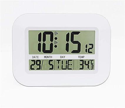 SKQC Reloj de Pared, Radio controlable LCD Montable en Pared y Reloj de Escritorio Función