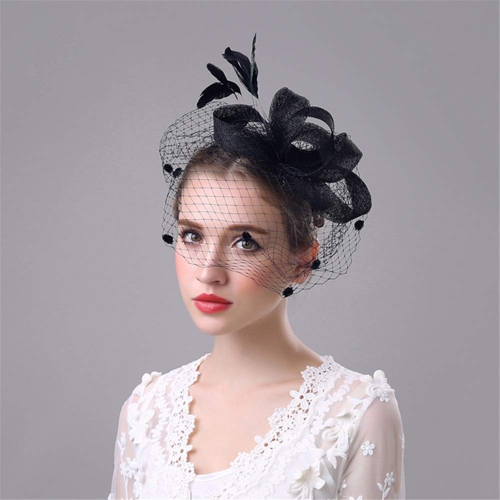 Dig dog bone Ladies Bridal Charming Big Flower Headband Netting Mesh Hair Band Cocktail Hat Party Girls Women Fascinator Hat.