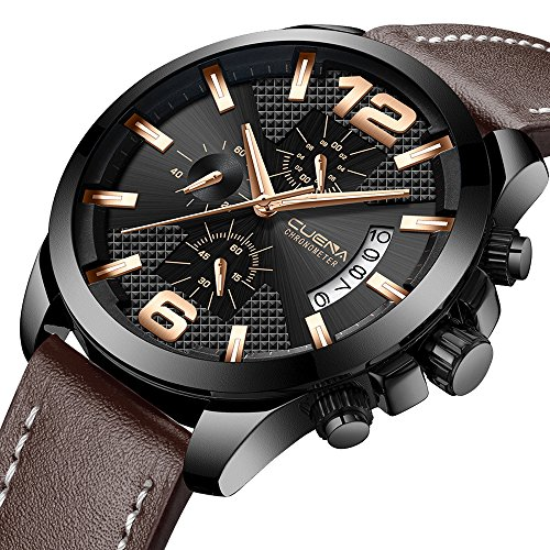 - Luxury Men's Chronograph Watch Leather Strap Casual Waterproof Quartz Wrist Watch with Calendar