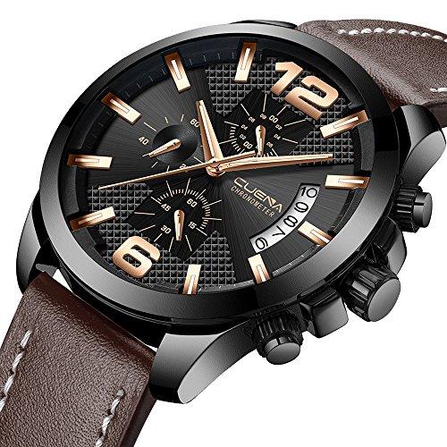 Luxury Men's Chronograph Watch Leather Strap Casual Waterproof Quartz Wrist Watch with Calendar (Leather Quartz Mens Strap)
