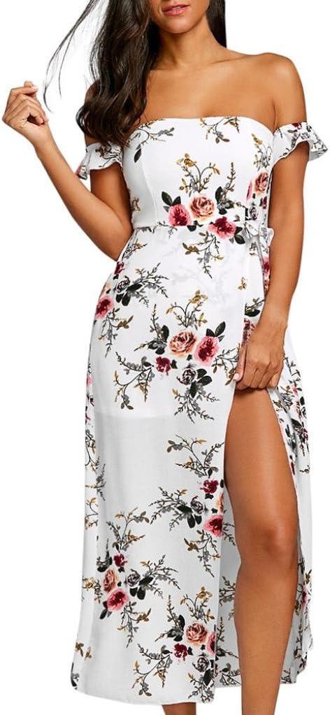 S, White Balakie Ladies High Slit Floral Print Off Shoulder Maxi Dresses Fashion Womens Casual Long Dress