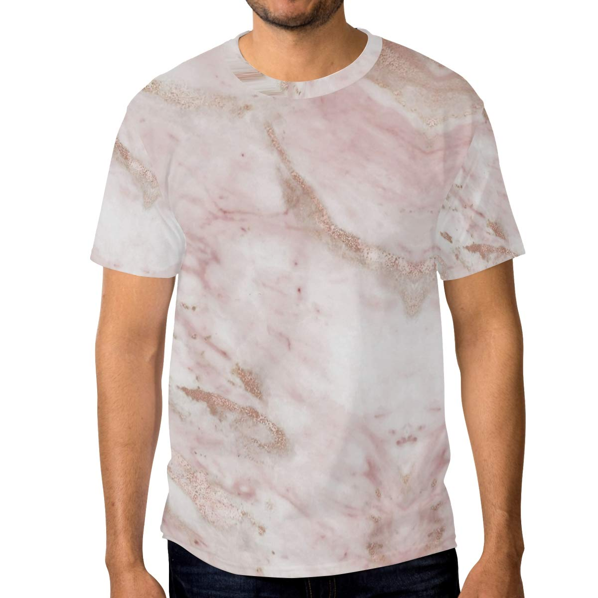 Horatiood Huberyyd Pink Marble Rose Gold Mens T Shirts Graphic Funny Body Print Short T-Shirt Unisex Pullover Blouse