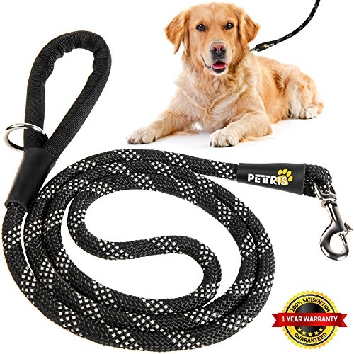 PETTRIS Heavy Duty Reflective Rope Leash for Large and Medium Dogs - 1/2 Inch Thick x 6 Foot Long - Strong Nylon Climbing Rope Lead for Big Dogs with Soft Padded Handle and O-Ring by PETTRIS