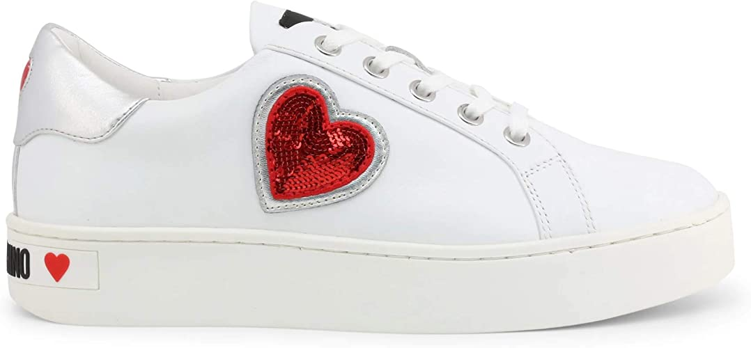 Love Moschino Shiny Hearts Sneakers Femmes BiancoArgento Sneakers Basse