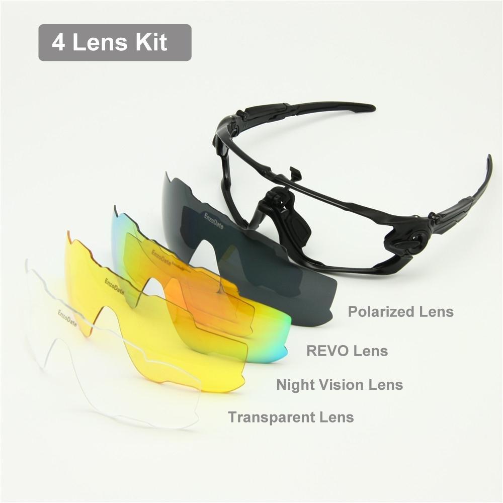 Vélo polarisée lunettes de 4 ou 5 Kit de lentilles, lunettes de soleil UV400 Night Vision vélo (citron vert/noir, 4 lens kit)