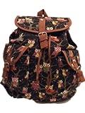 Girls Ladies Animal Owl Butterfly Print Canvas bag Rucksack Backpack School bag