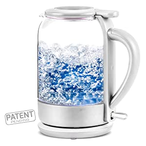 OVENTE Electric Glass Hot Water Kettle 1.5 Liter with ProntoFill™ Technology The Easy-fill Solution, White (KG516W)