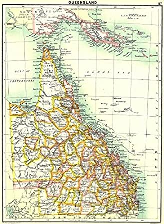 Map Of Australia Vs Uk.Australia Queensland 1900 Old Antique Vintage Map Printed