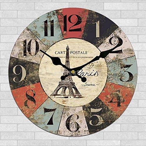 Moonluna Retro Paris Eiffel Tower Wooden Wall Clock for Women Silent Clock Wall Decor for Living Room Bedroom 12 (Walnut Wine Tower)