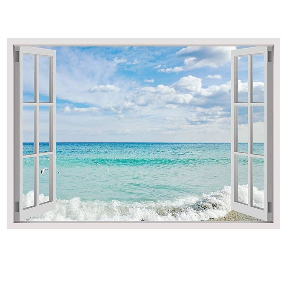 Alonline Art - Sea And Sky Fake 3D Window FRAMED STRETCHED CANVAS (100% Cotton) Gallery Wrapped - READY TO HANG | 39''x28'' - 100x71cm | Framed Decor Framed Paints Giclee Framed Artwork Framed Print