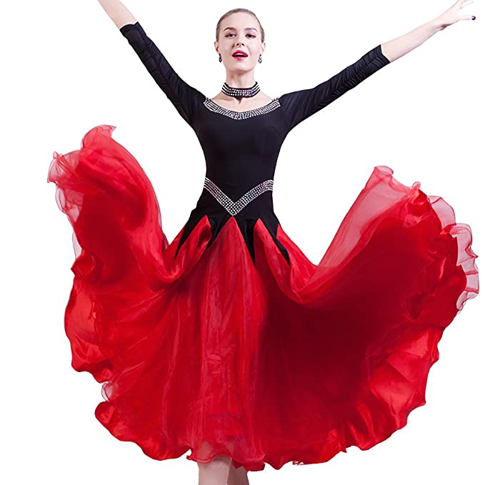 Amazon.com: nakokou Mujer Vestidos de competencia de baile ...