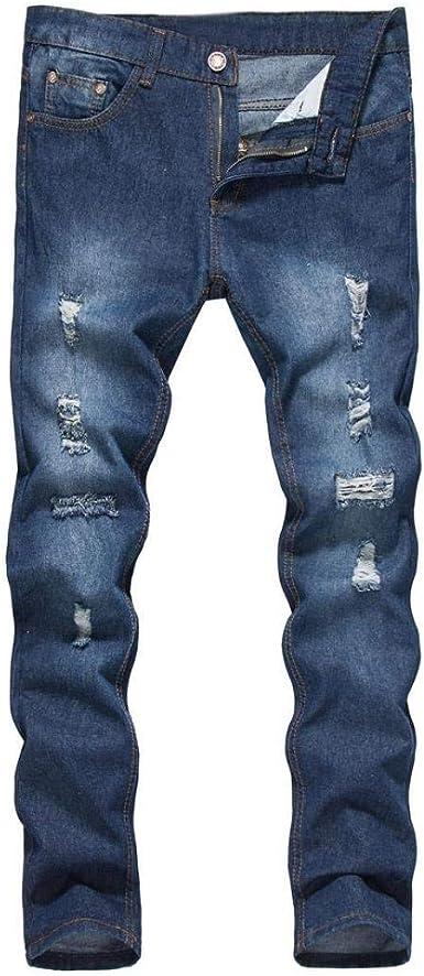 Pantalones De Corte Slim Para Hombre Denim Recto Moda Estilo Vintage Con Agujeros Rotos Cher Jeans Mens Pantalones De Mezclilla De Corte Slim Casual Estilo Unico Destruido Pantalones De Mezclilla Amazon Es Ropa