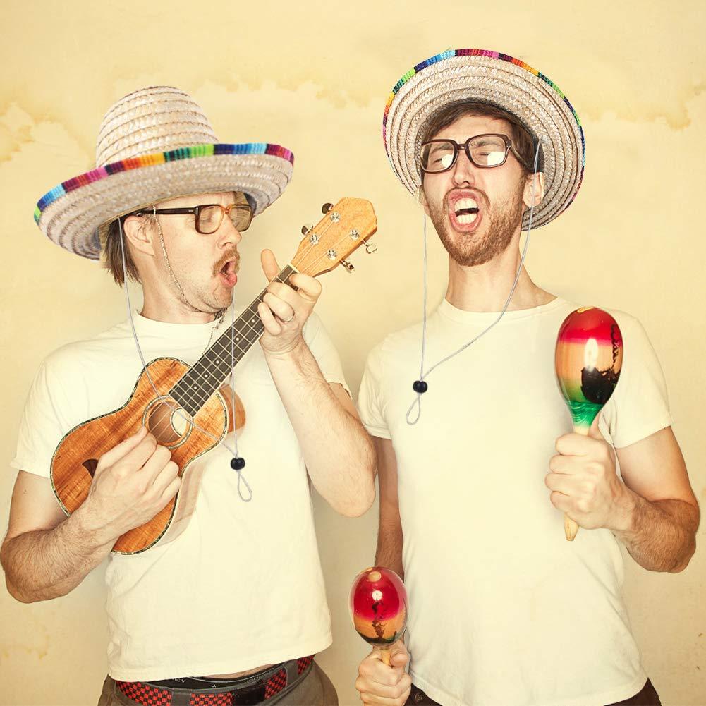 DomeStar Mexican Sombrero Hat, Straw Hat Mexican Costume for Cinco de Mayo Spanish Fiesta