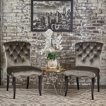 315525b8b62 Christopher Knight Home 302025 Hallie Traditional Tufted New Velvet Armless Dining  Chairs (Set of 2) Grey Dark Brown