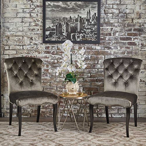 Christopher Knight Home 302025 Hallie Traditional Tufted New Velvet Armless Dining Chairs (Set of 2), Grey/Dark ()