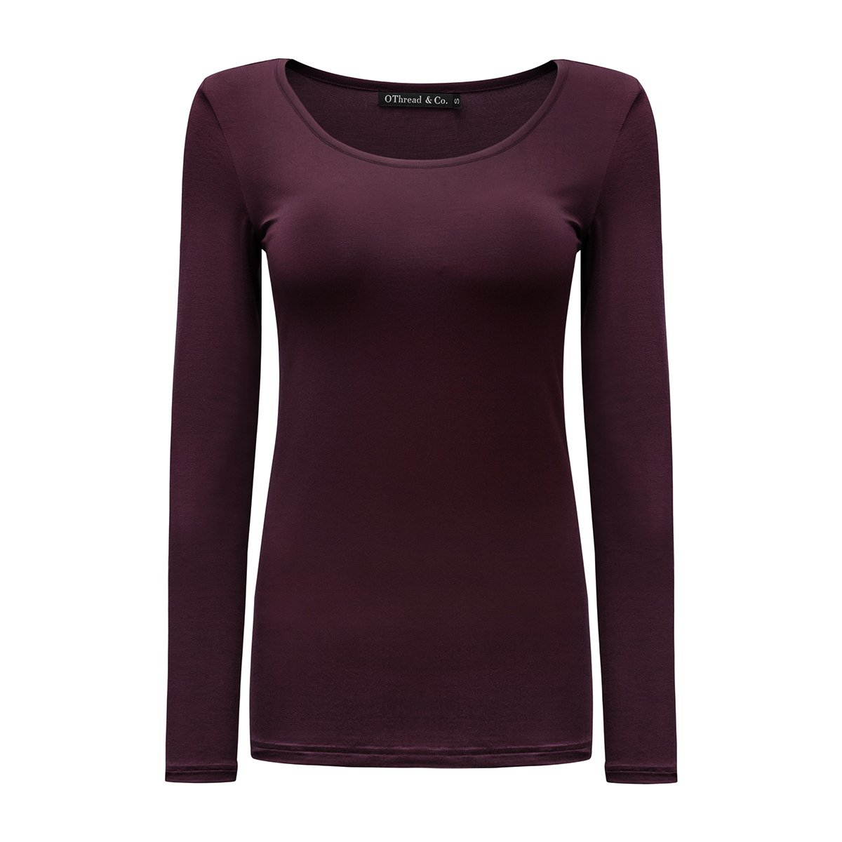 OThread & Co. Women's Long Sleeves T-Shirt Scoop Neck Plain Basic Spandex Tee