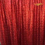 LQIAO 20FTx10FT Red Shimmer Sequin Fabric Backdrp Wedding Photo Booth Photography Backdrops Background DIY Party Banquet Decoration