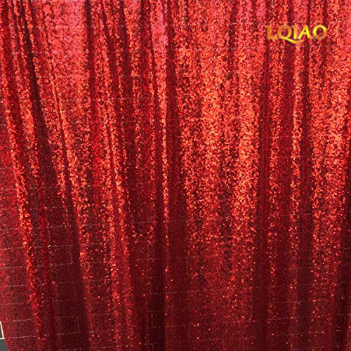 LQIAO 20FTx10FT Red Shimmer Sequin Fabric Backdrp Wedding Photo Booth Photography Backdrops Background DIY Party Banquet Decoration by LQIAO