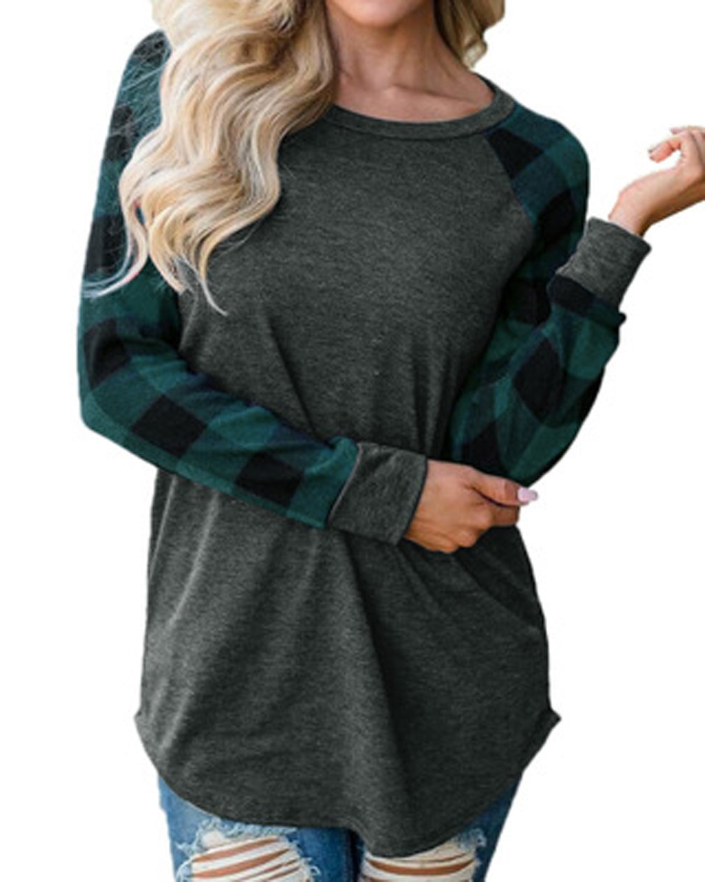Tomlyws Women's Casual Crewneck Plaid Long Sleeve T-Shirt Blouse and Tops Dark Grey and Green L