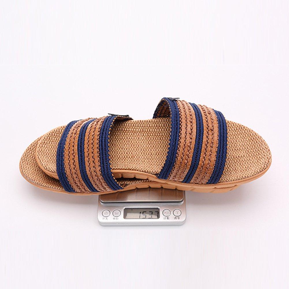 KUIBU Unisex Couples Kids Antiskid Slide Scuff Indoor Home Flat Mules Flax Hemp Slippers Sandals Footwear