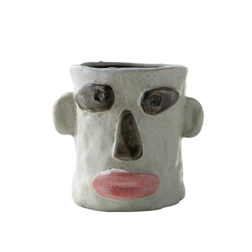 "Ornerx Ceramic Creative Face Succulent Plant Pot 4"""