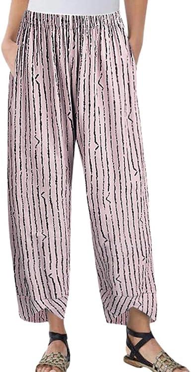 Broadwage-Ropa Pantalón De Lino Algodón Rayas Mujer Casual Pantalones Sueltos Banda Elástica Rectos Y Cáñamo Casual: Amazon.es: Ropa y accesorios