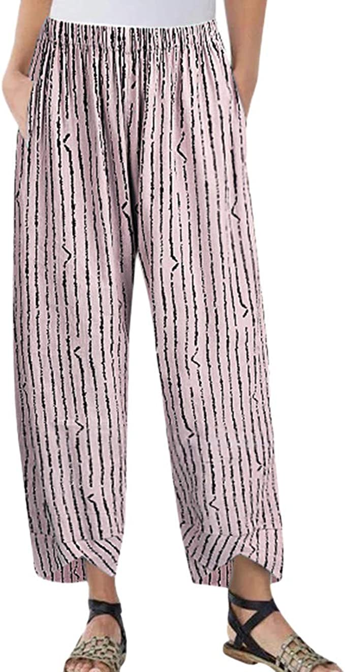 cinnamou Pantalones Mujer, Causal Pantalones Lino Ancho Rays ...