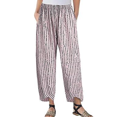 FNKDOR Pantalons Femme Causal Coton Lin Femmes Décontractée