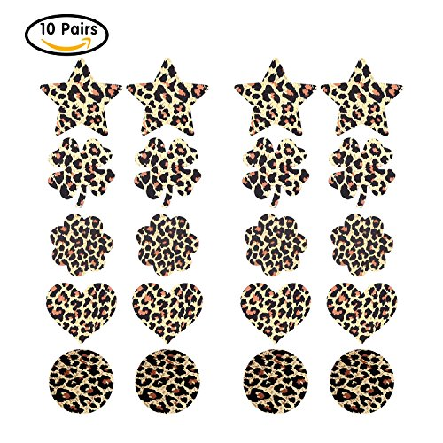 SoarDream 10 Pairs sexy nipple pasties good permeability Sexy Leopard sticker Heart-shaped / Star / Circular / Flower/ round disposable dew point (Dew Flowers)