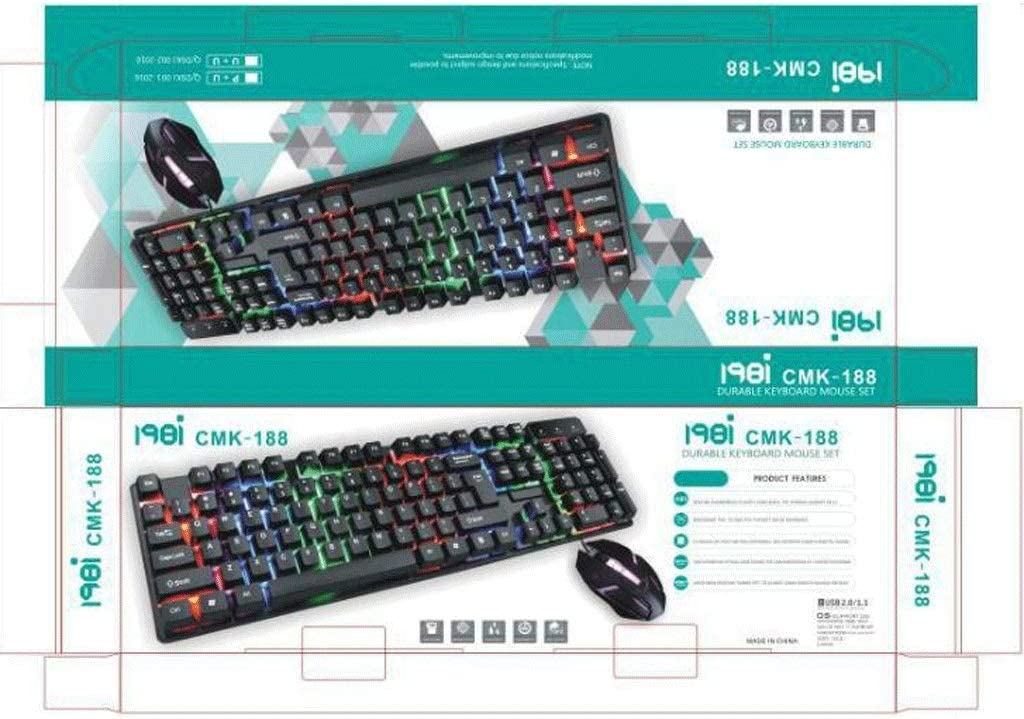 Gaming Wired USB Illuminated Mouse and Keyboard Set,Mechanical Feel,Desktop Backlit Game CMK188 Keyboard and Mouse Set