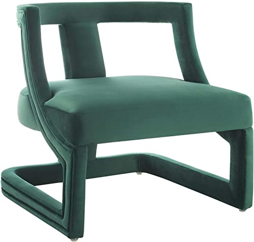 Modway Requisite Performance Velvet Guest Reception Accent Chair in Green