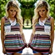 Women's Tank Tops,kaifongfu Fashion Tribe Print Pocket Tank Top Sleeveless Tops (S, Multicolor)