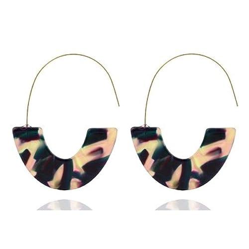 Fashion Women Acrylic Water Drop Hollow Round Geometric Dangle Earrings Jewelry