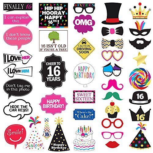 16th Birthday Photo Booth Party Props - 40 Pieces - Funny Sweet Sixteen Birthday Party Supplies, Decorations and - Guy Mirror Pictures