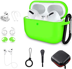 Airpods Pro Case, Alquar 10 in 1 Silicone Apple Airpod Pro Accessories Set, Airpods 3 Charging Case Protective Cover with Ear Hook/Strap/Clips/Watch Band Holder/Brush/Keychain(Green)
