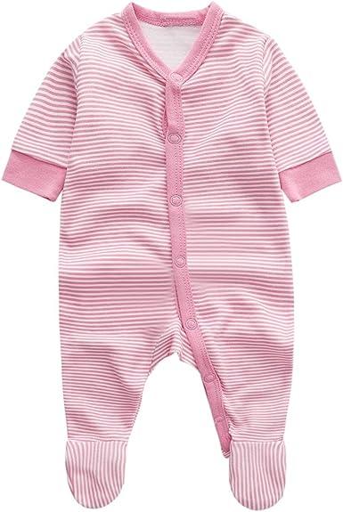 Bebé Niñas Mono Mameluco Manga Larga Infante Ropa de Dormir AlgodóN Pelele Raya Nube Rosado Pijama: Amazon.es: Ropa y accesorios
