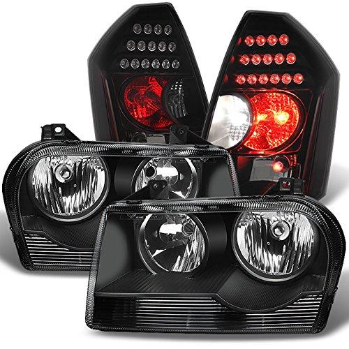 Assembly Chrysler Headlight 300 - For 2005 2006 2007 2008 2009 10 Chrysler 300 Halogen Type Black Headlights + Black Smoke LED Taillights