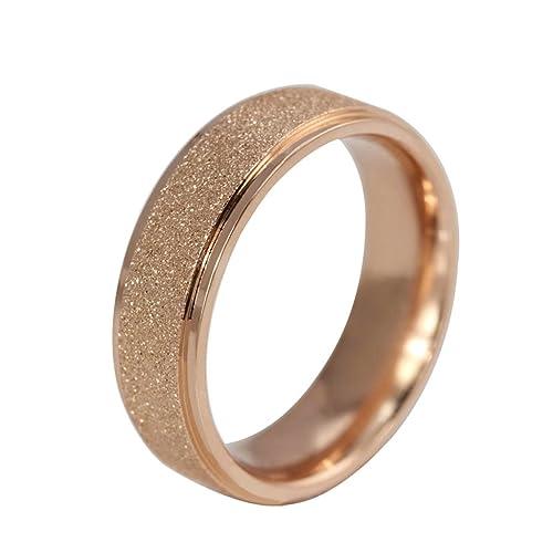 Bishilin 6MM 14K Chapado en Oro Rosa Esmerilado Pareja Anillos de boda para Hombres Tamaño 9