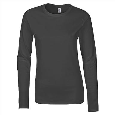 e8f9b9f532a Gildan 64400L T-shirt à manches longues pour femme en coton Ringspun - Gris  -