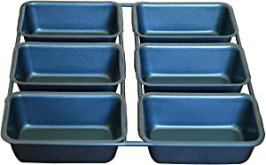 Mini Loaf Pan, 6-Cavity Linked Mini Toast Mold, Carbon Steel Brownie Bakeware, Square Muffin Pan for Baking Bread with Oven -Gray