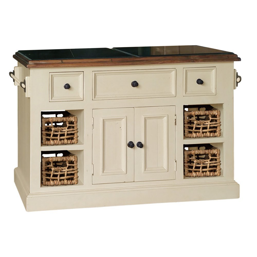 Amazon Com Large Granite Top Kitchen Island In Country White Finish Kitchen Dining