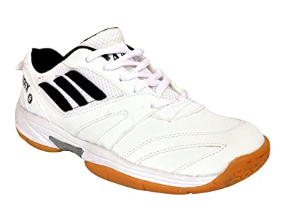 d523f3fa5fa737 Aadix White Samsh 104 Badminton Shoes for Men Boys Women Girls Junior PU  Material Non Marking Sole Outdoor Indoor Playing - Best in Running Walking  Sports ...